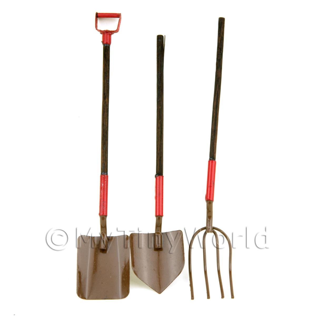 Dolls House Miniature 3 Piece Long Handle Garden Tool Set