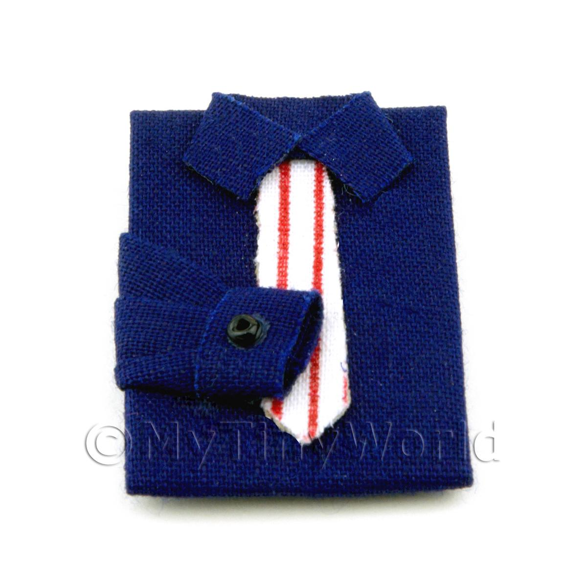 Dolls House Miniature Blue Shirt With Tie