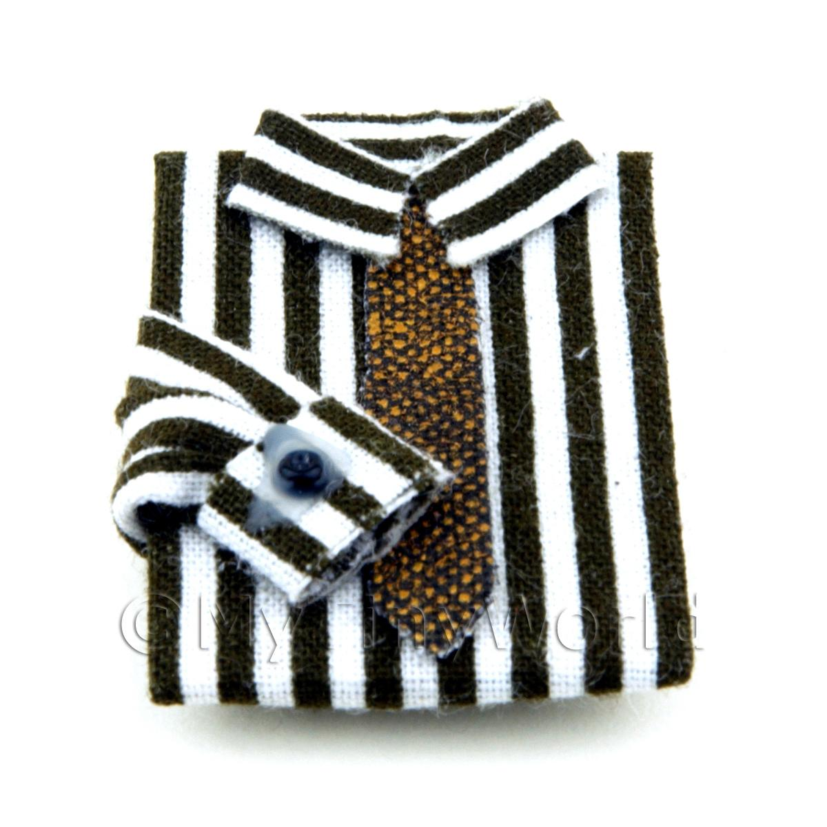 Dolls House Miniature Black and White Striped Shirt and Tie