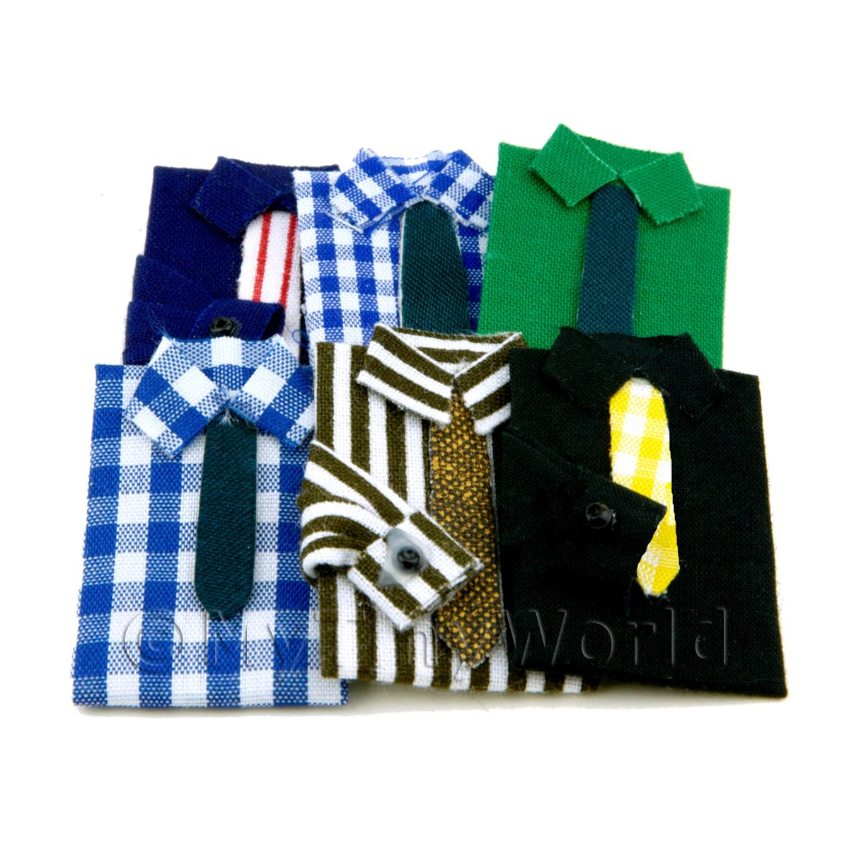 Dolls House Miniature Set of 6 Shirts With Ties