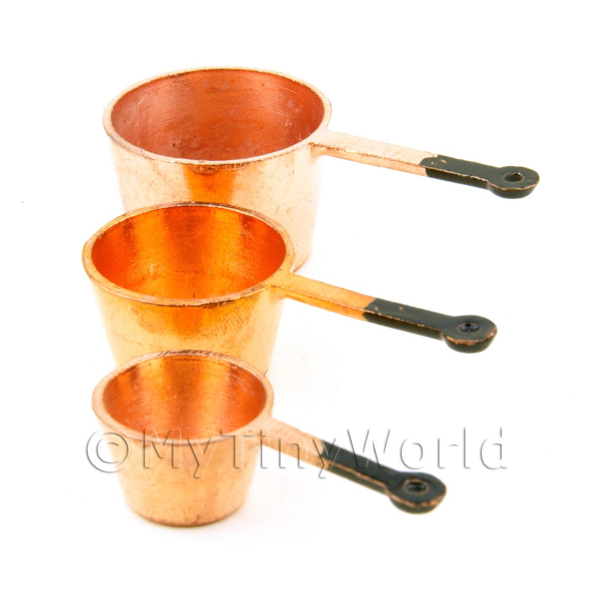 Dolls House Miniature Set of 3 Copper Colour Metal Saucepans