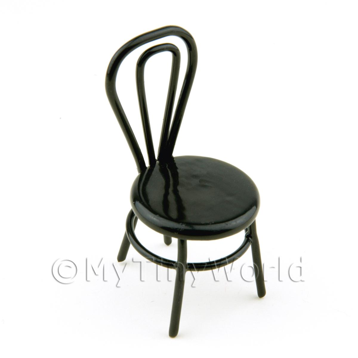 Dolls House Miniature Black Wire Chair