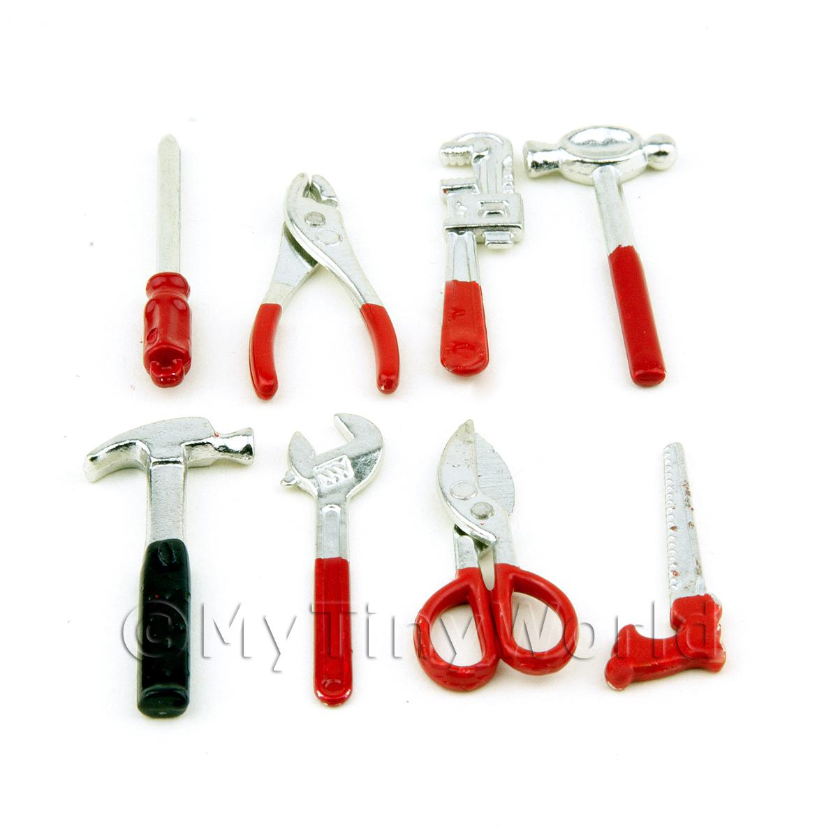Dolls House Miniature 8 Piece Metal DIY Tool Set
