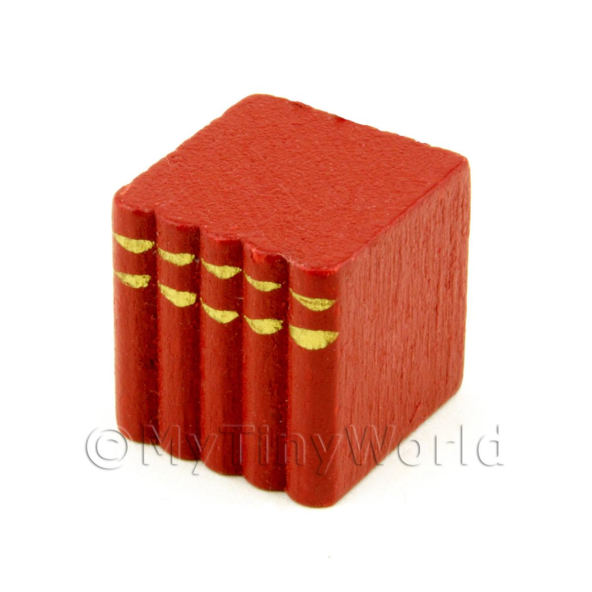 Dolls House Miniature Red Wood Block Of Books