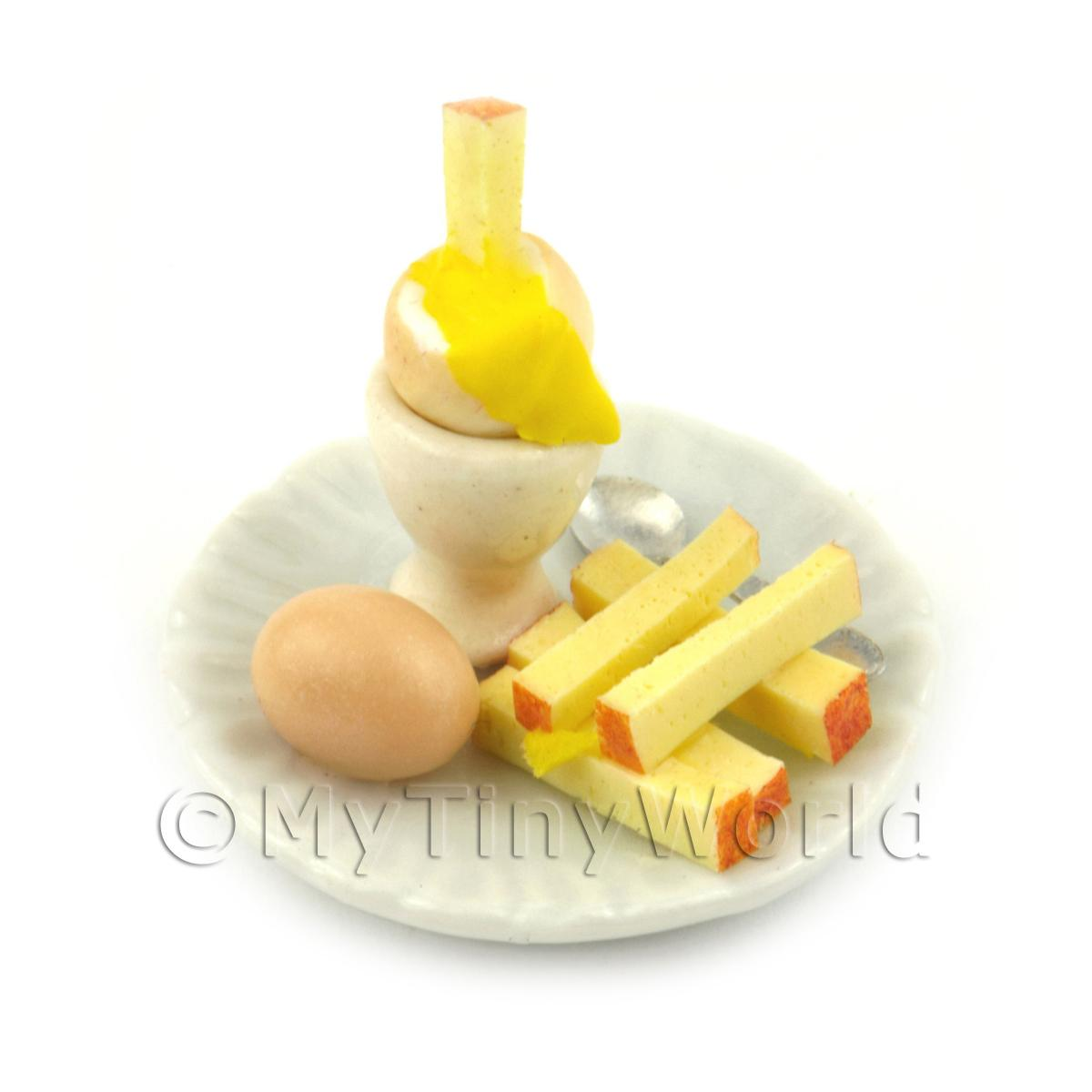 Dolls House Miniature Boiled Egg Being Dipped On A White Plate Style