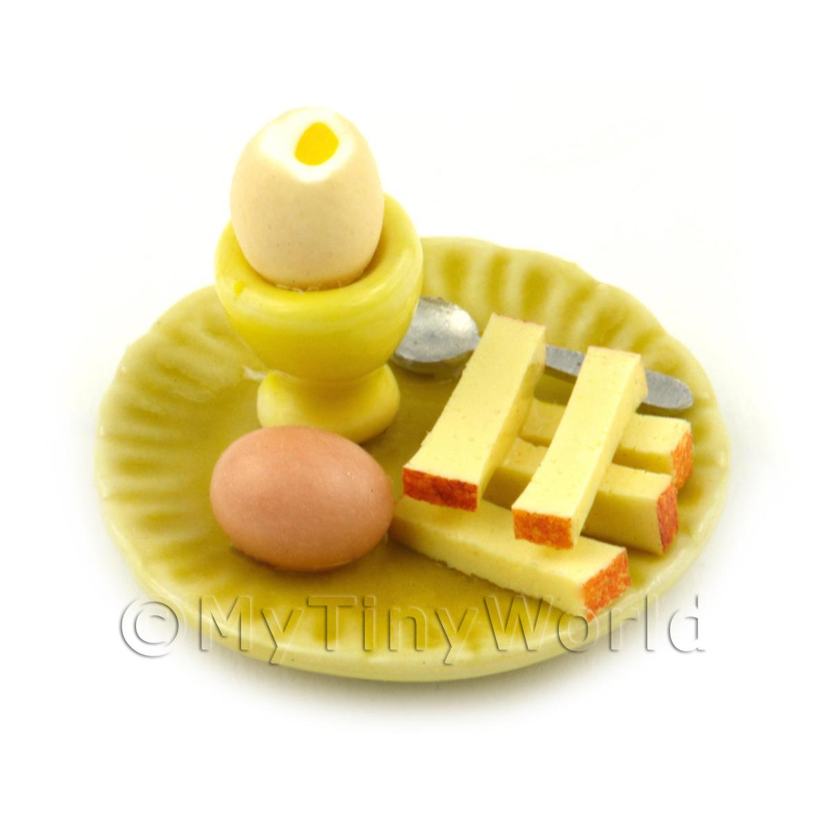 Dolls House Miniature Boiled Egg Top Off On A Yellow Plate Style 2