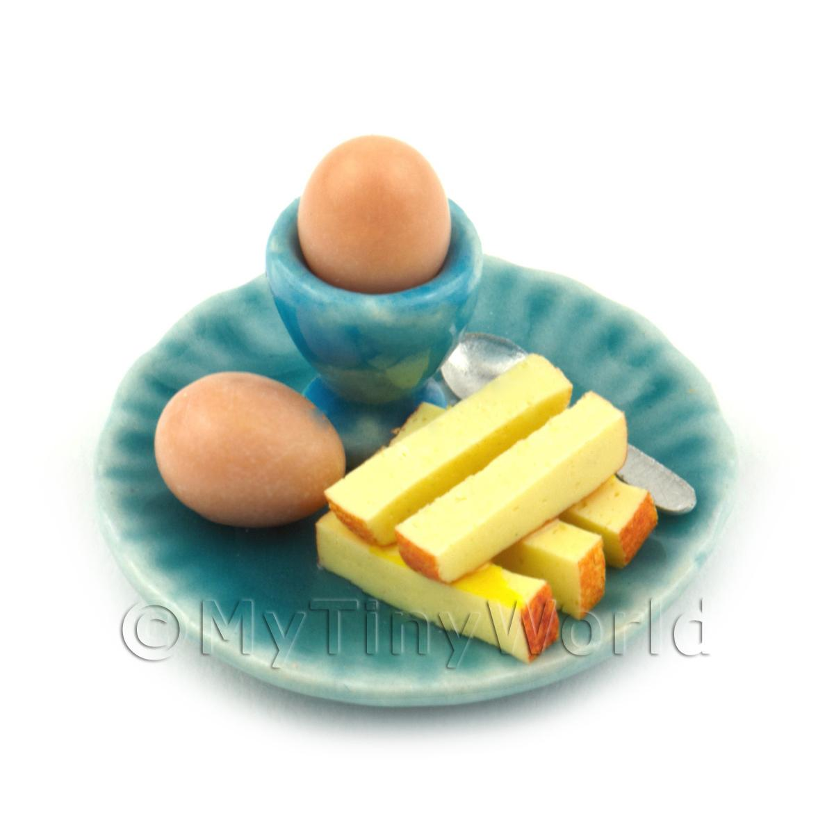 Dolls House Miniature Boiled Egg and Toast on A Blue Plate Style 1