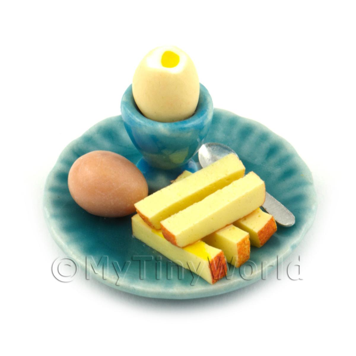 Dolls House Miniature Boiled Egg Top Off On A Blue Plate Style 2