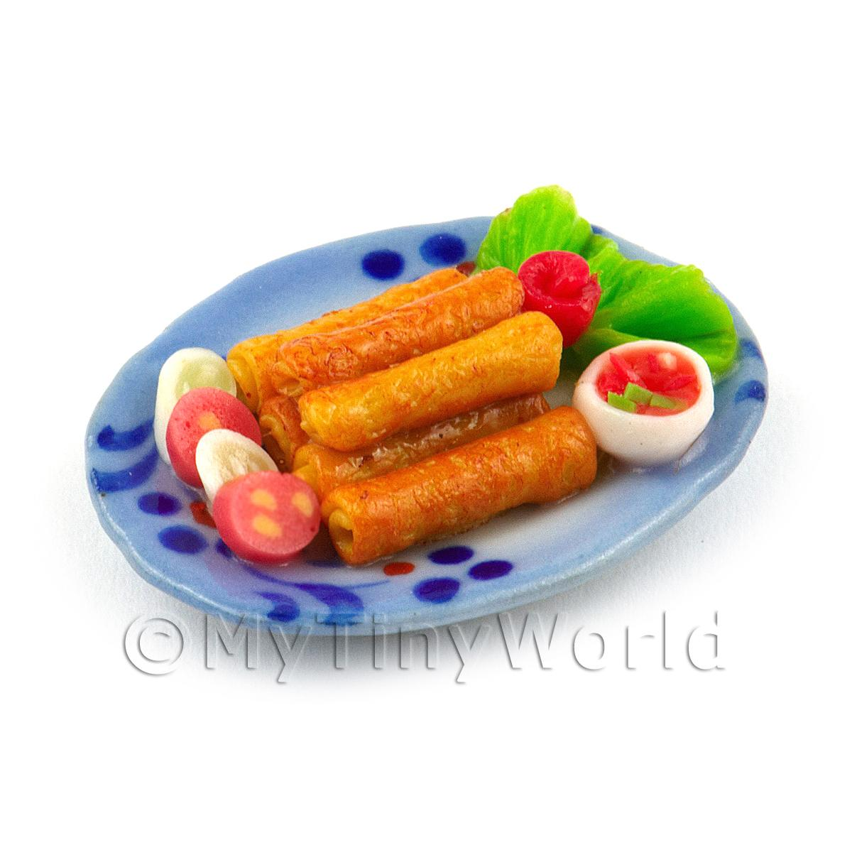 Dolls House Miniature Pile of Spring Rolls on a Ceramic Plate