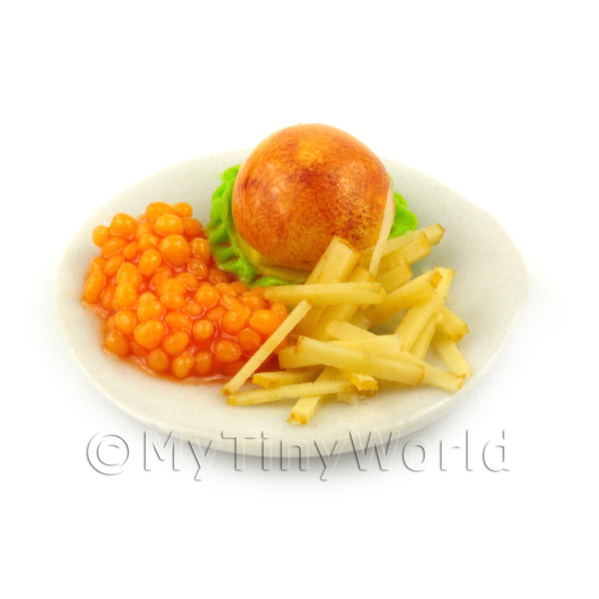 Dolls House Miniature 1/4 Pound Cheese Burger With Chips and Beans