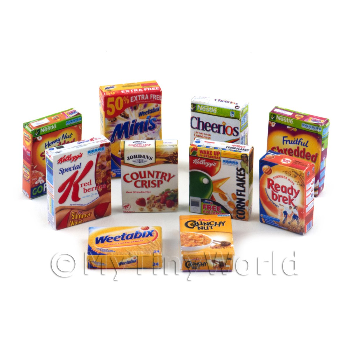 Dolls House Miniature Selection Of 10 Breakfast Cereal Boxes (CB2)