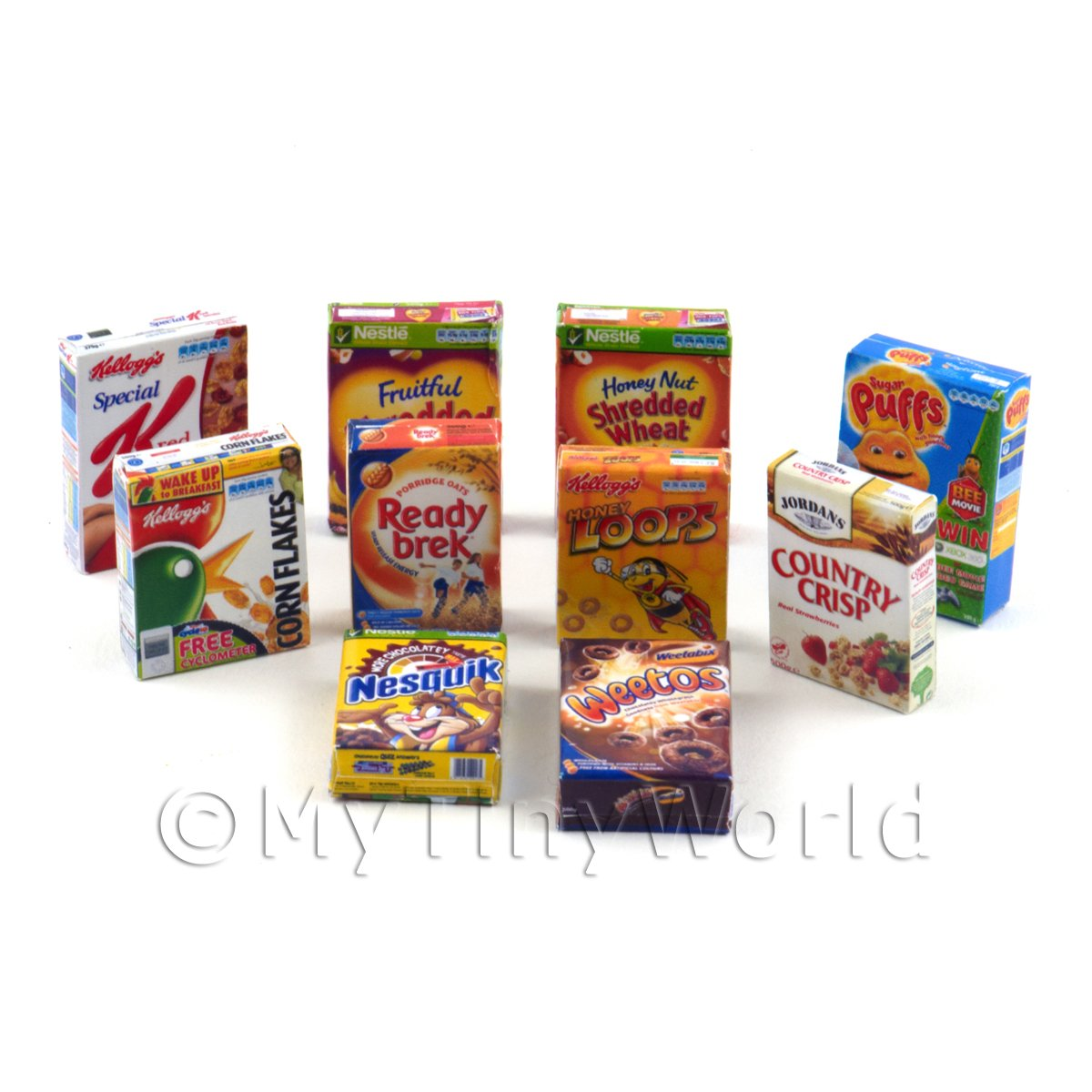 Dolls House Miniature Selection Of 10 Breakfast Cereal Boxes (CB3)