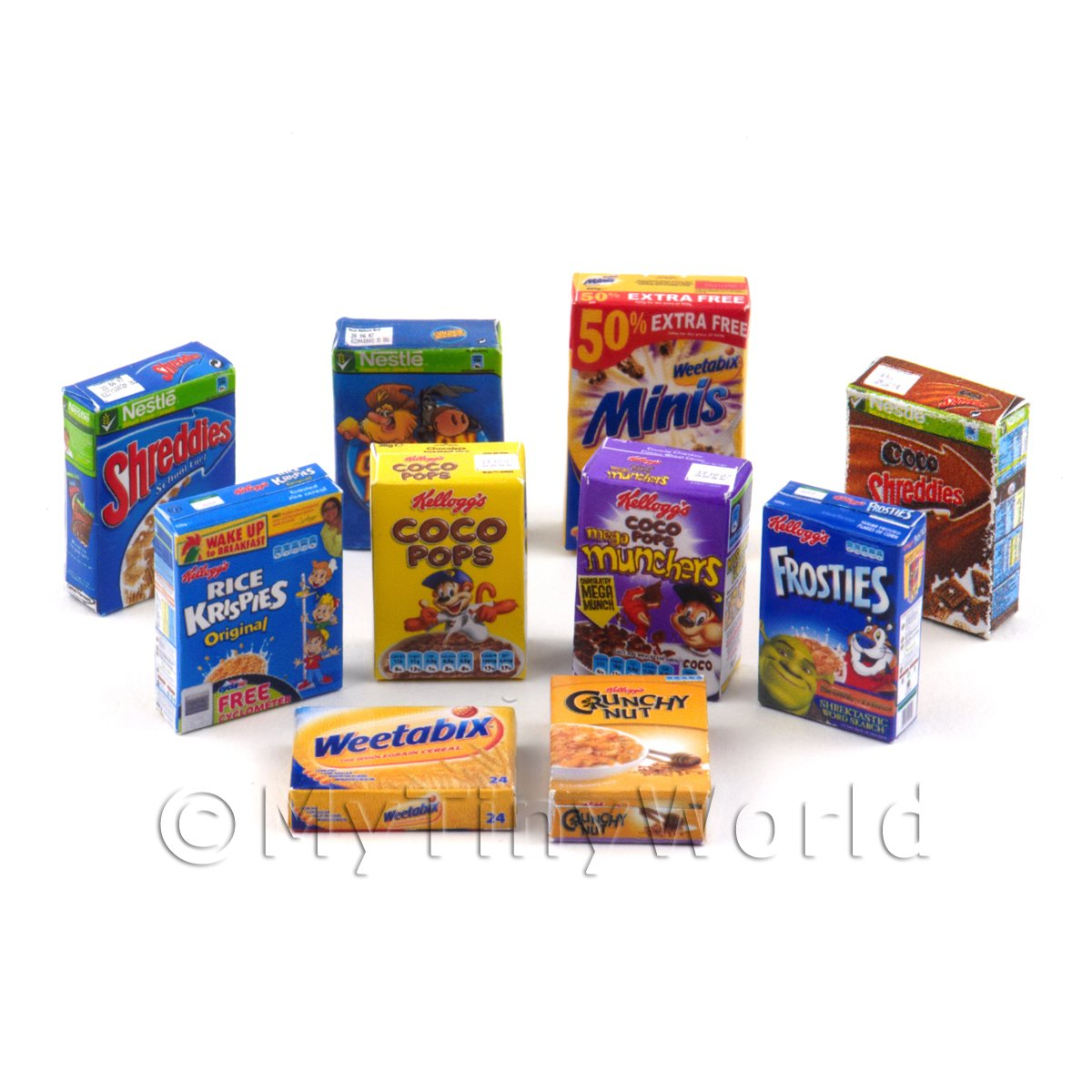 Dolls House Miniature  Selection Of 10 Breakfast Cereal Boxes (CB4)