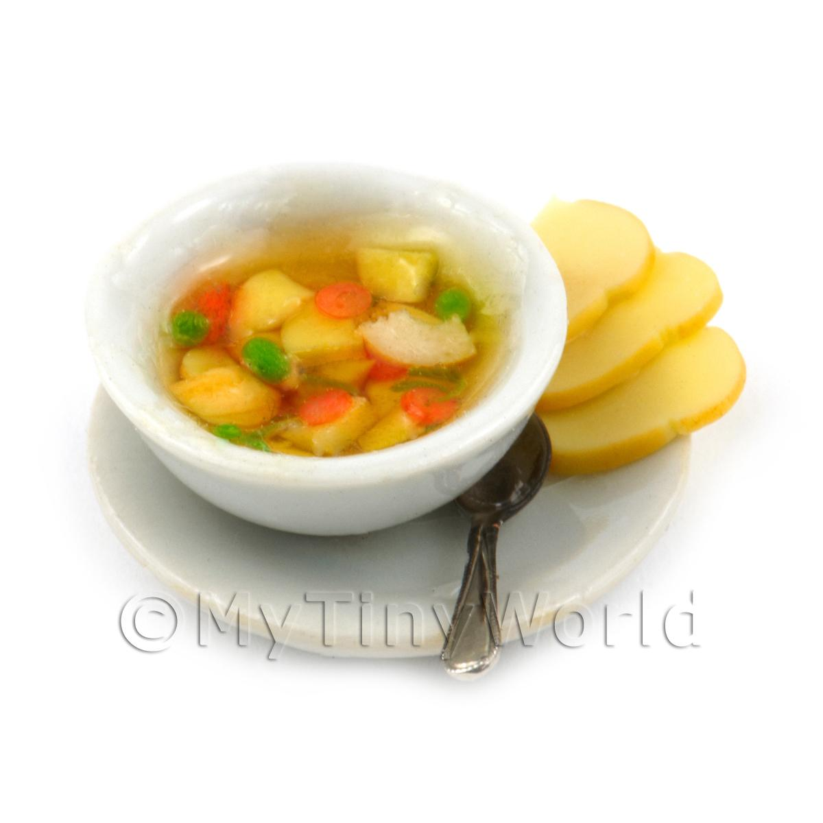Dolls House Miniature Bowl Of Clear Vegetable Soup