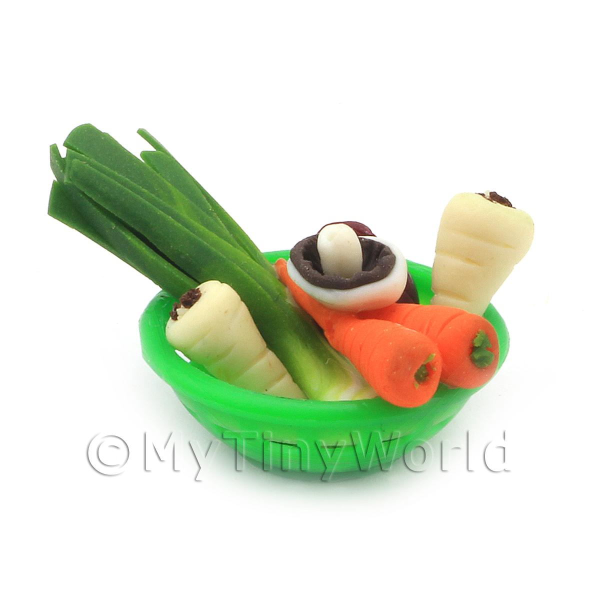 Dolls House Miniature Vegetable Assortment In Green Bowl