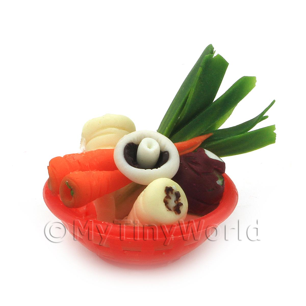 Dolls House Miniature Vegetable Assortment In Red Bowl