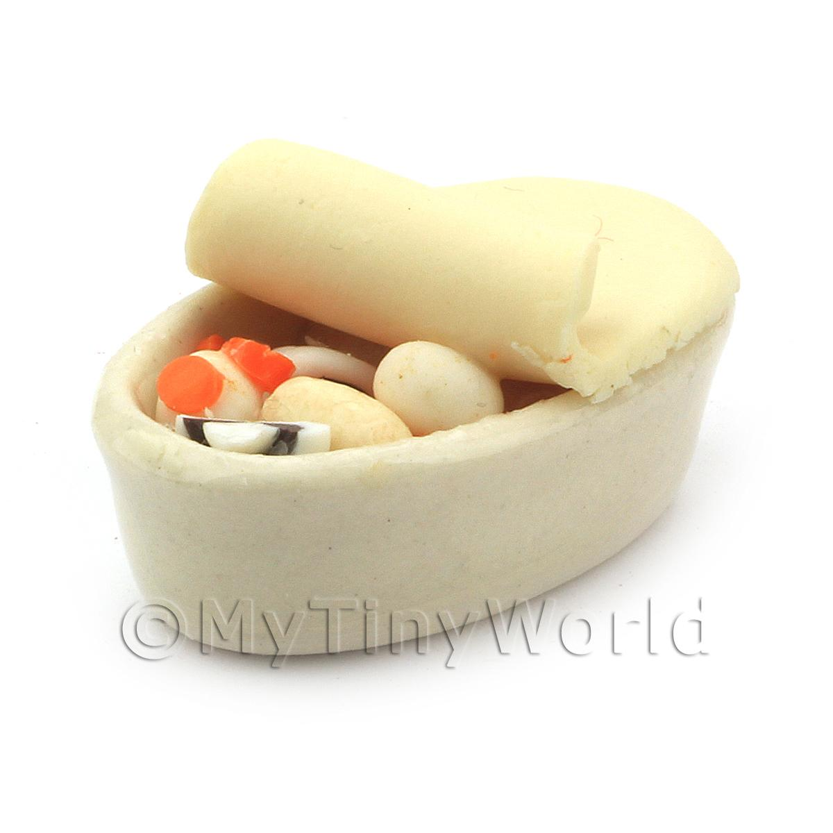 Dolls House Miniature Vegetable Casserole In A Ceramic Pie Dish