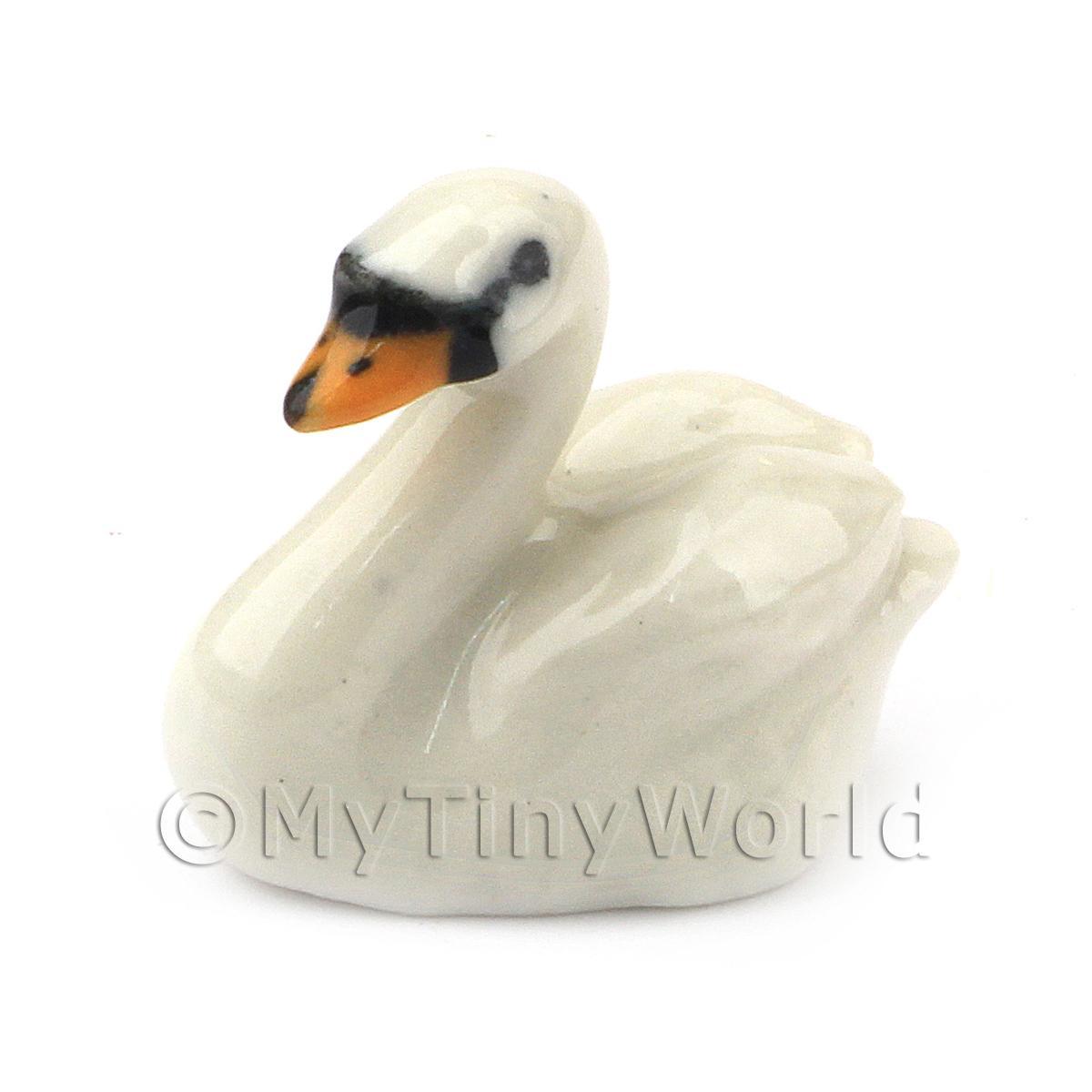 12 Tiny White Swan Bird Miniature Animal Handmade Clay Dollhouse Accessory