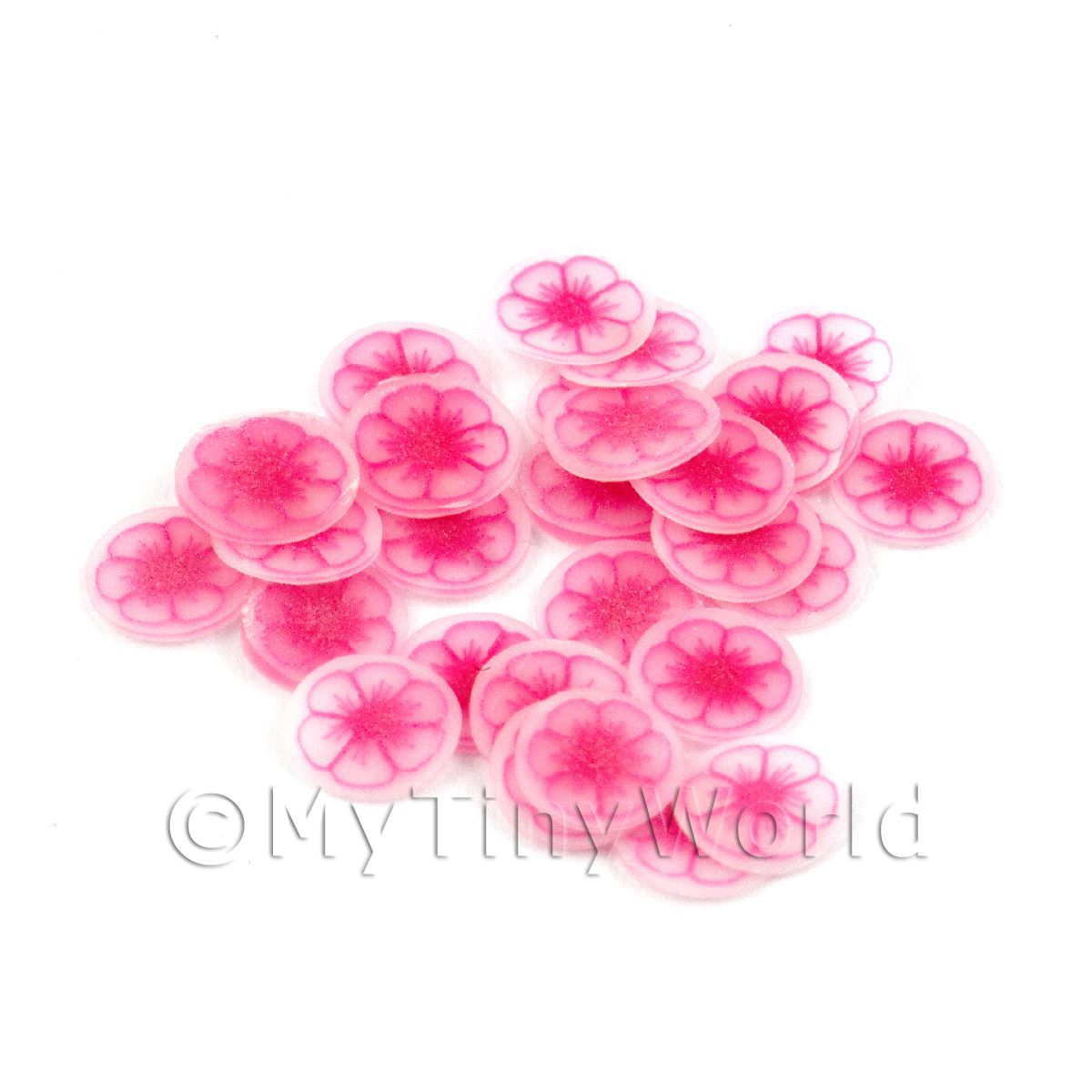 50 Pink Flower Nail Art  Cane Slices (NS45)