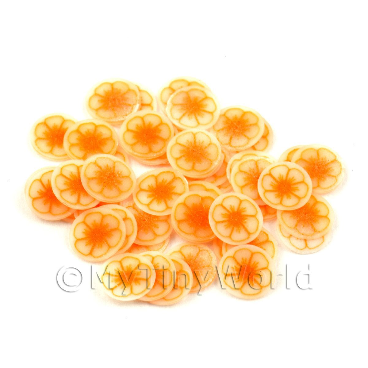 50 Orange Flower Nail Art  Cane Slices (NS47)