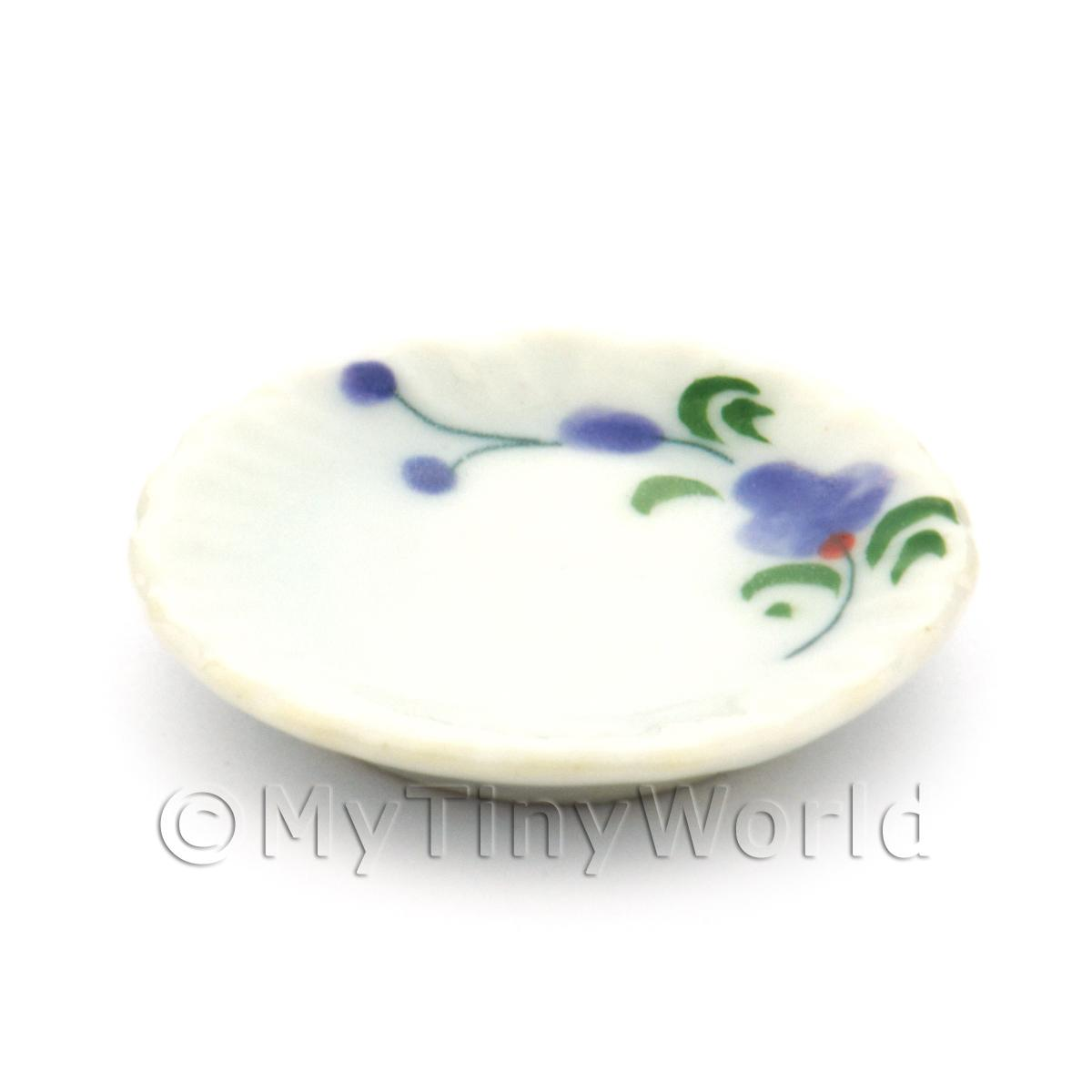 Dolls House Miniature Purple Orchid Design Ceramic 25mm Fluted Plate