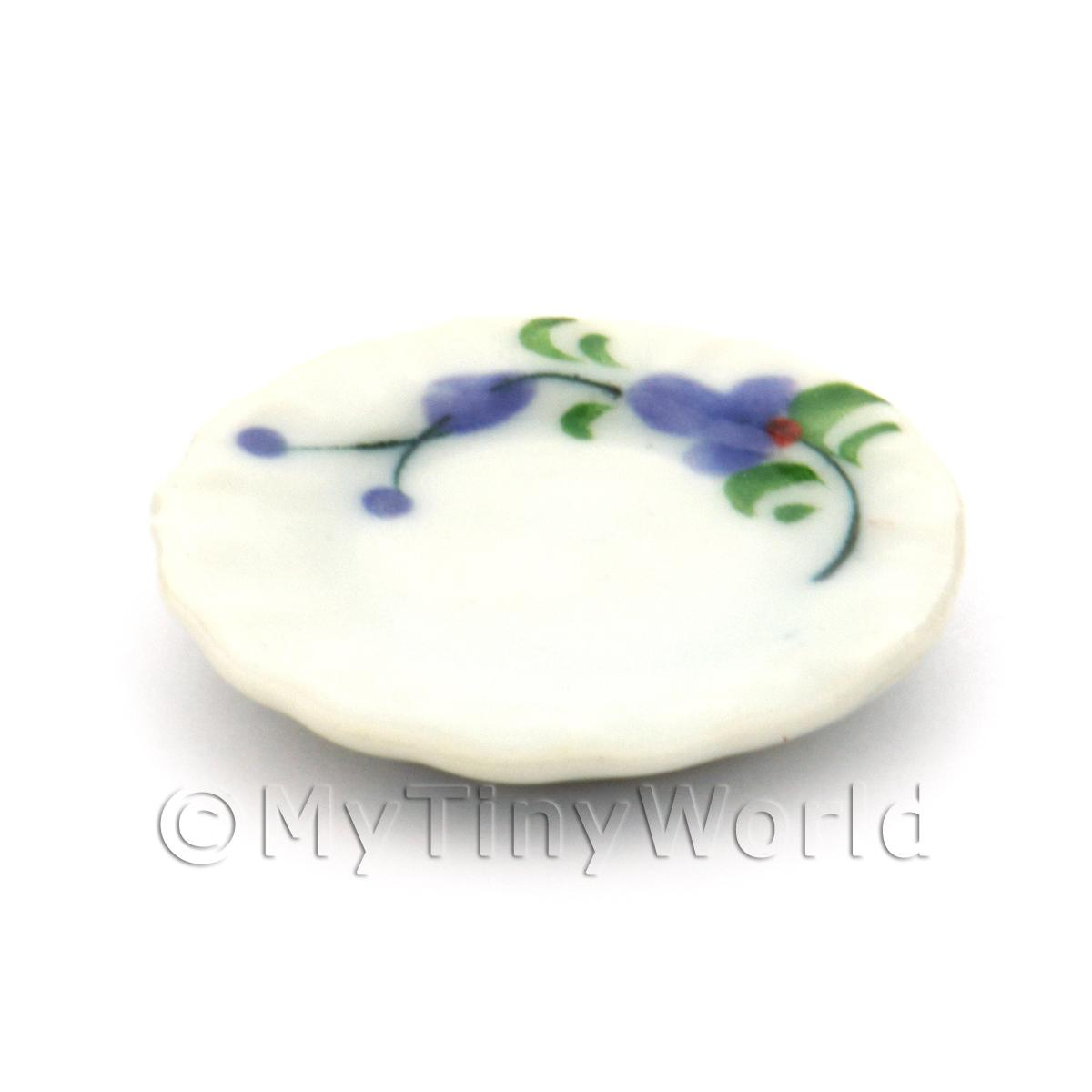 Dolls House Miniature Purple Orchid Design Ceramic 22mm Fluted Plate