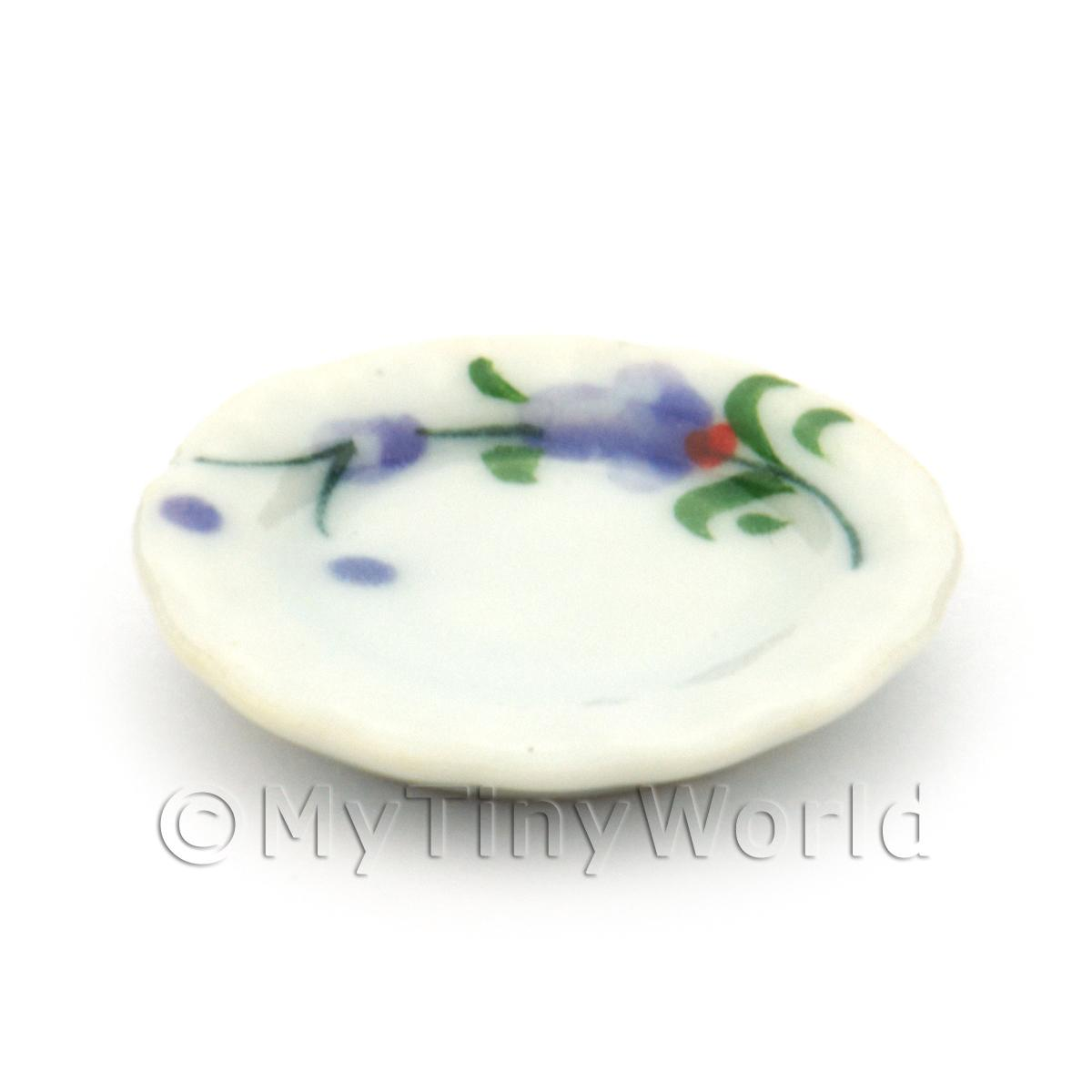 Dolls House Miniature Purple Orchid Design Ceramic 20mm Fluted Plate