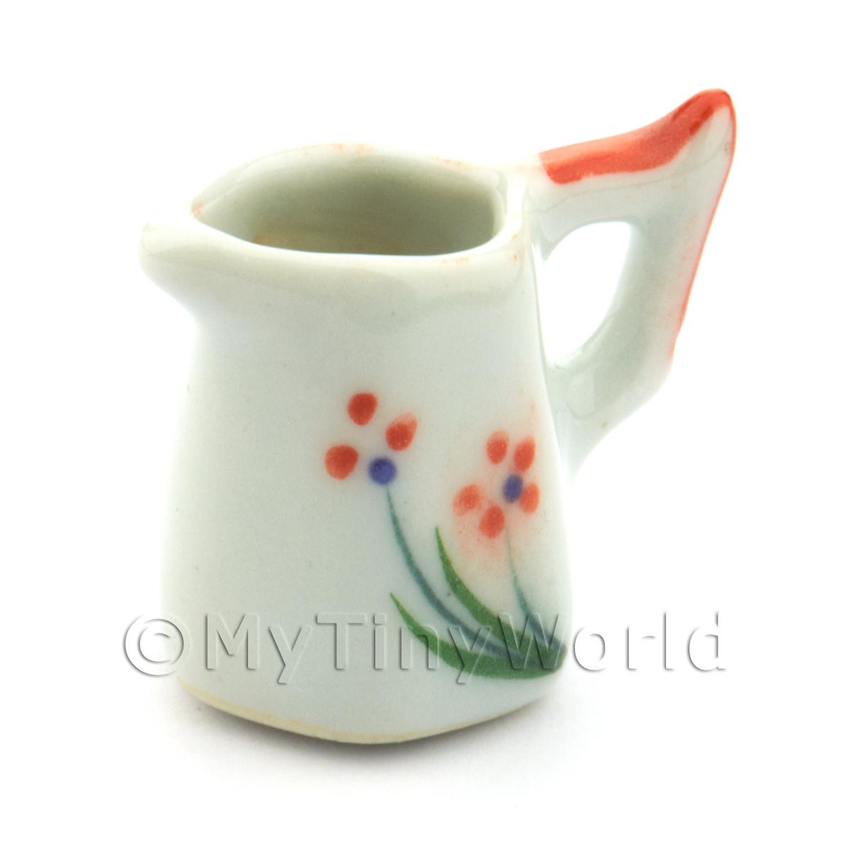 Dolls House Miniature Orange Flower Design Ceramic Hexagonal Jug