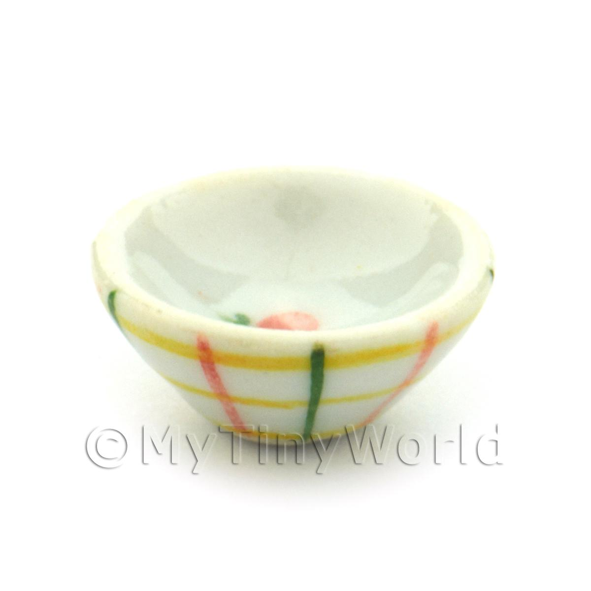 Dolls House Miniature Crosshatch Pattern 15mm Ceramic Bowl