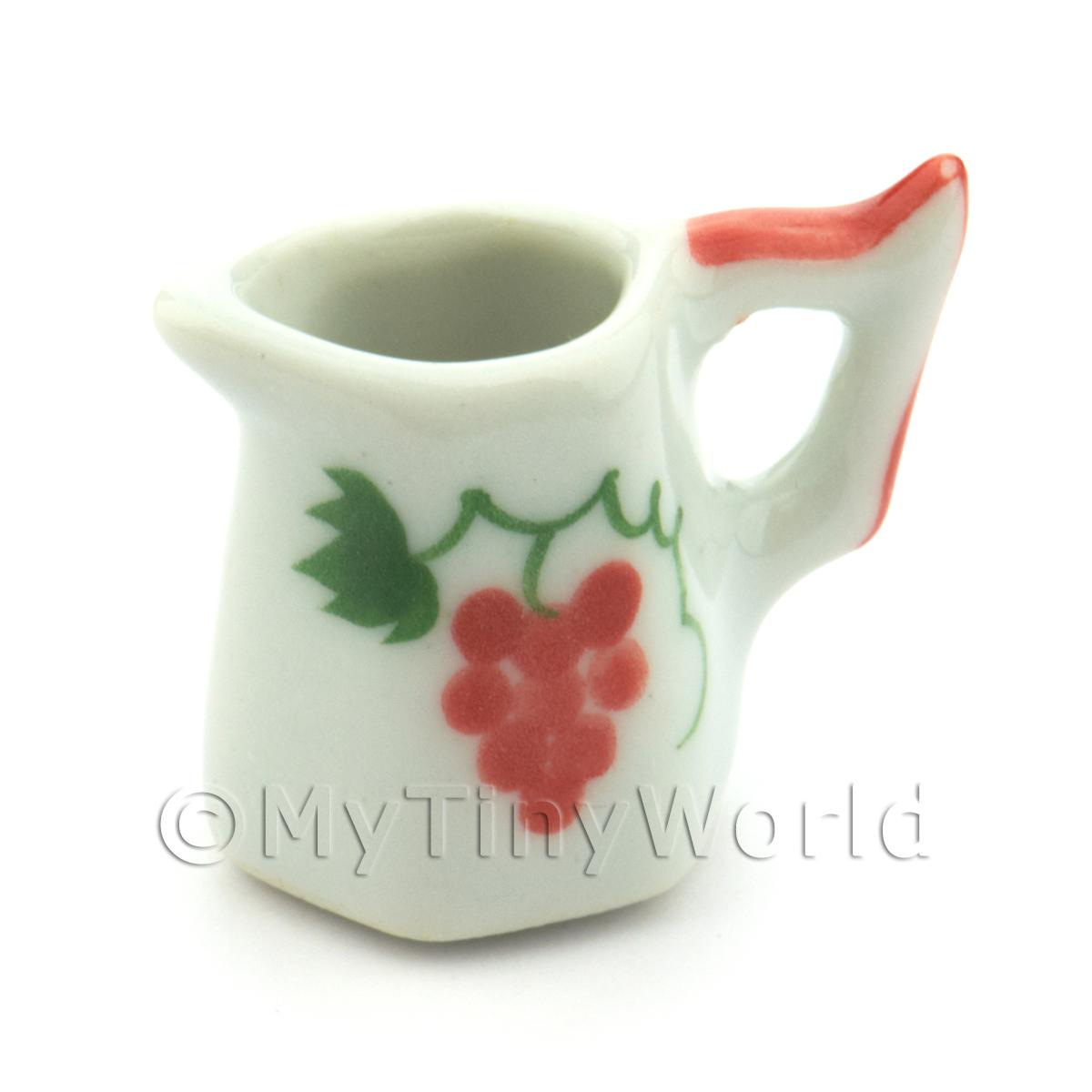 Dolls House Miniature Grape Design 20mm Ceramic Hexagonal Jug