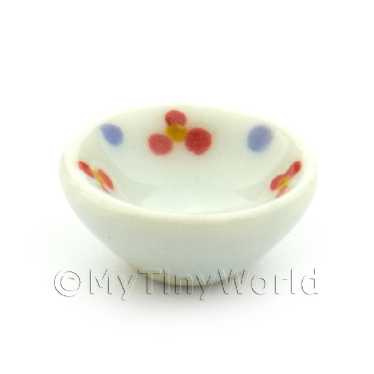 Dolls House Miniature Flower Design 16mm  Ceramic Bowl