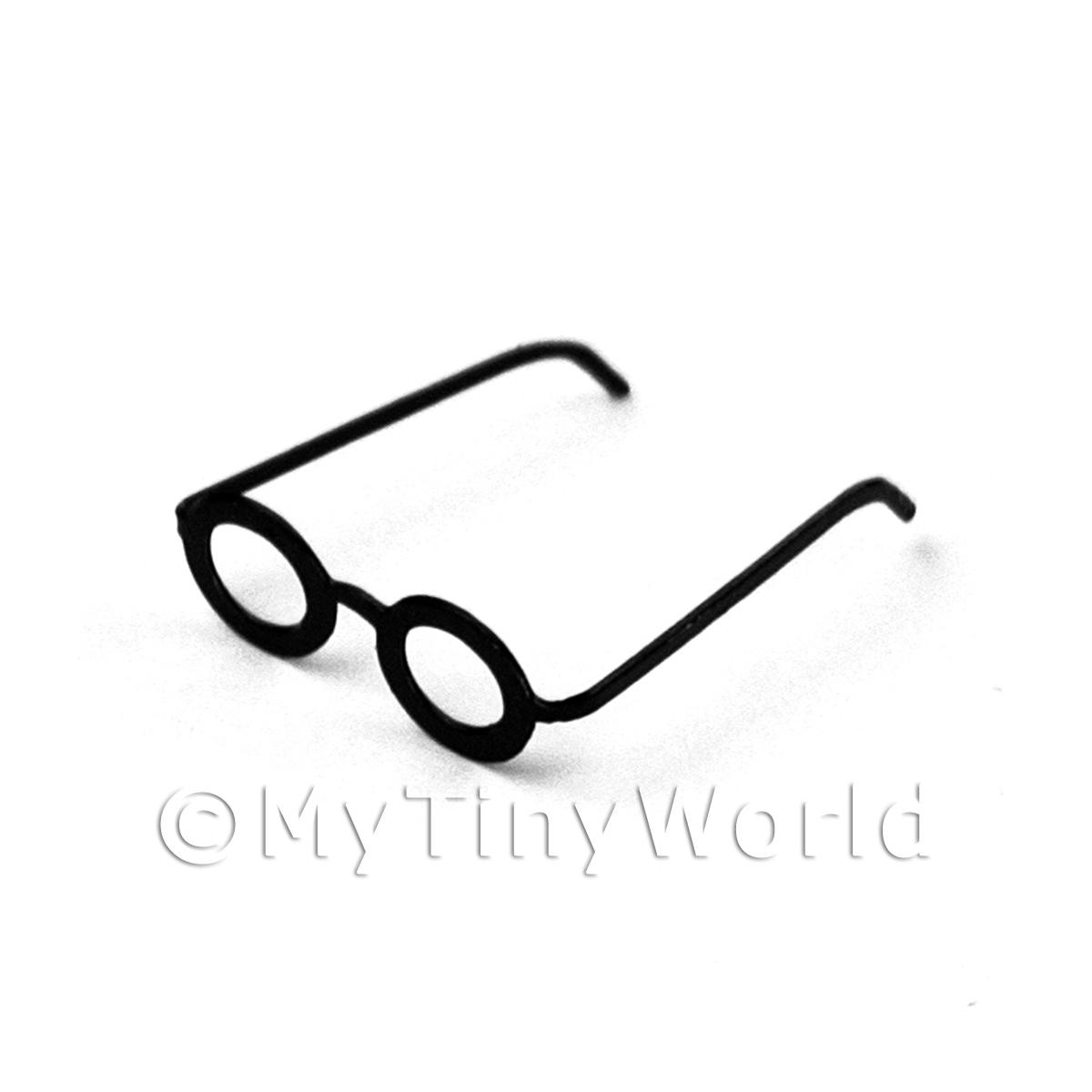 Dolls House Miniature Pair of Black Glasses in the Wizardy Style