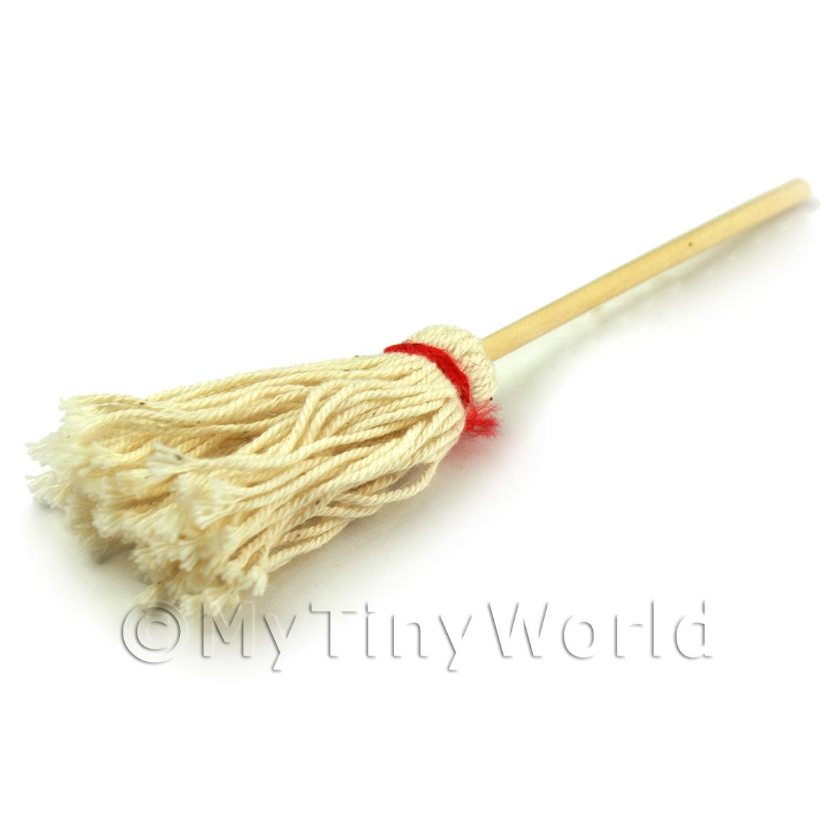 Dolls House Miniature Realistic Wooden Handled Kitchen Mop