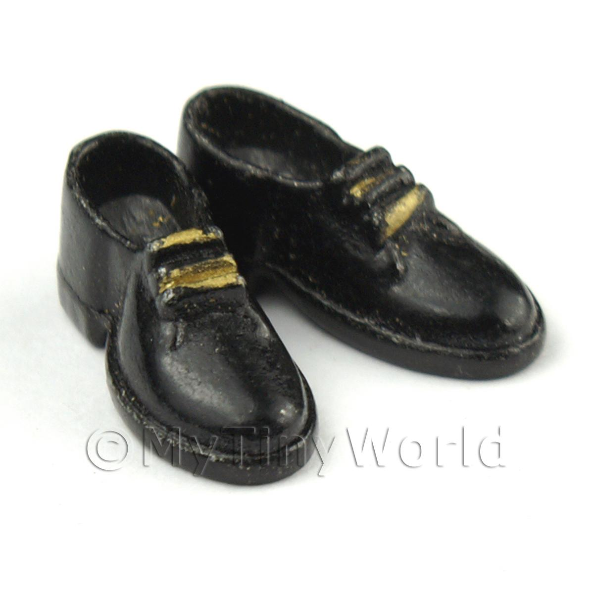 Dolls House Miniature Resin Black And Gold Mens Shoes