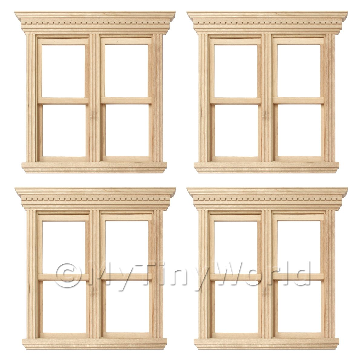 4 x Dolls House Miniature Opening Double Sash Wood Windows