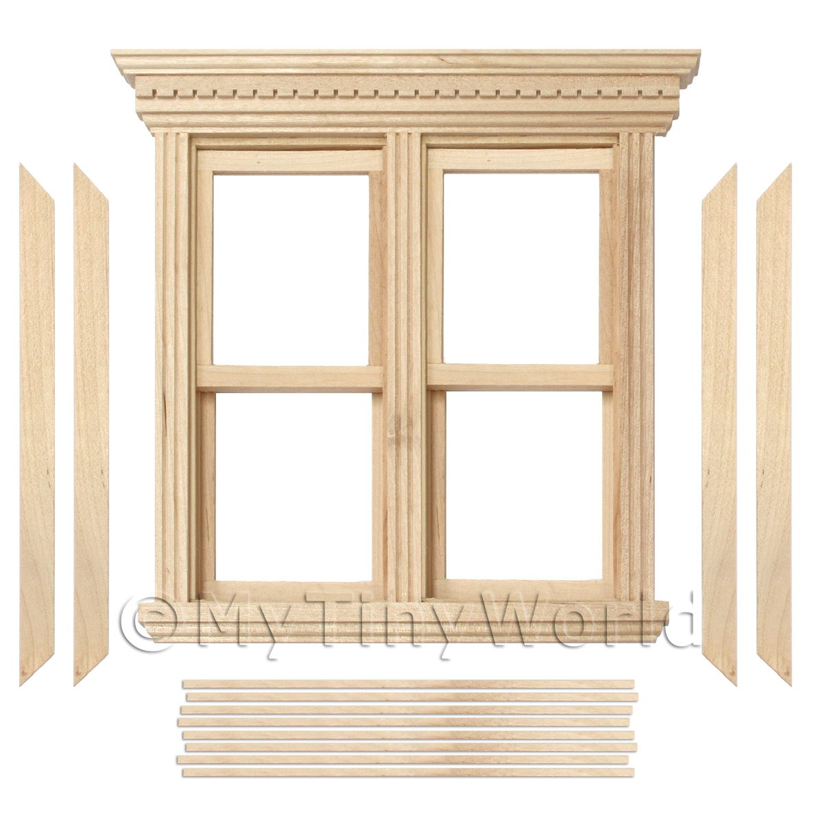 Dolls House Miniature Opening Double Sash Wood Window