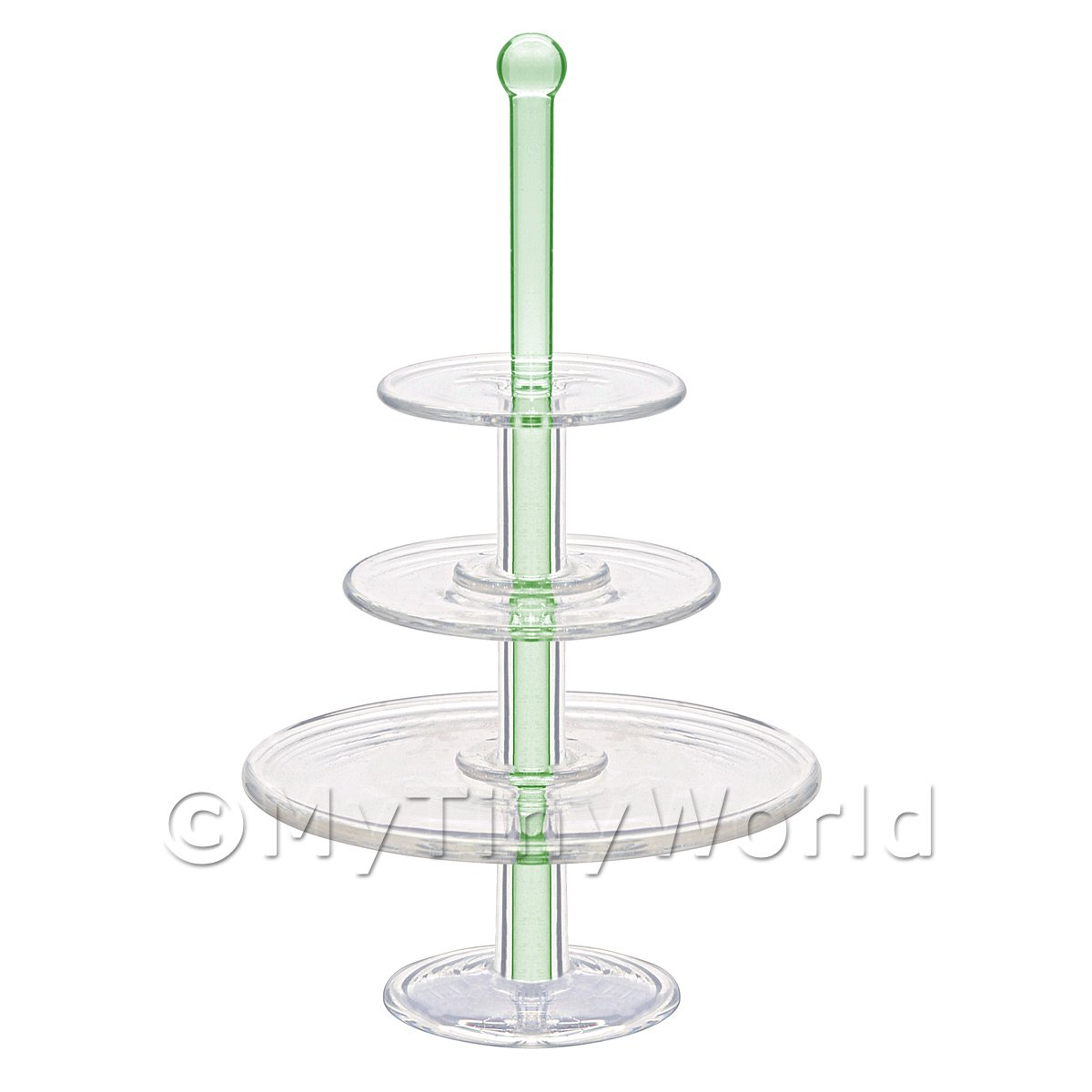 Dolls House Miniature Handmade Large Green 3 Tier Glass Cake Stand
