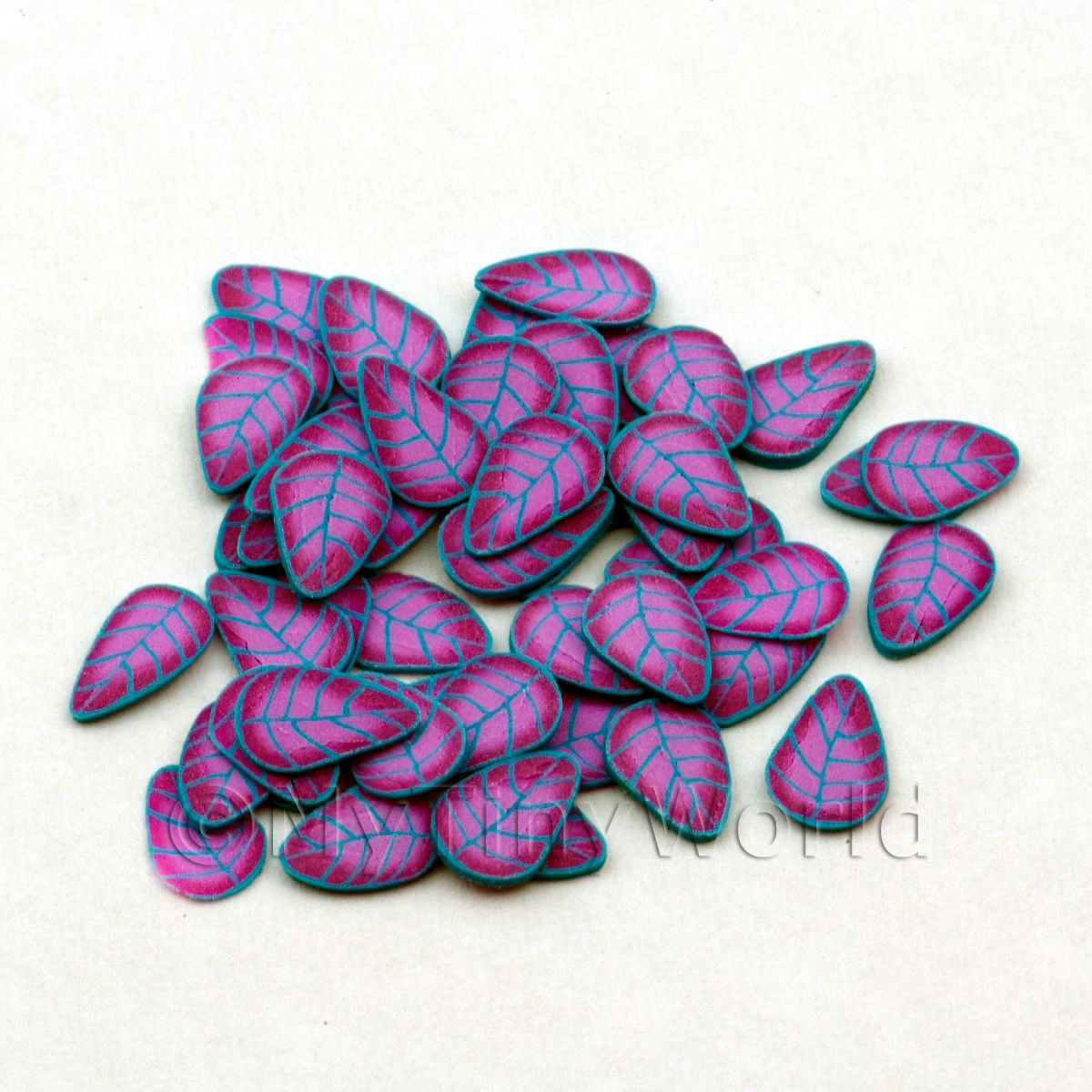 50 Blue and Mauve Leaf Cane Slices (NS27)
