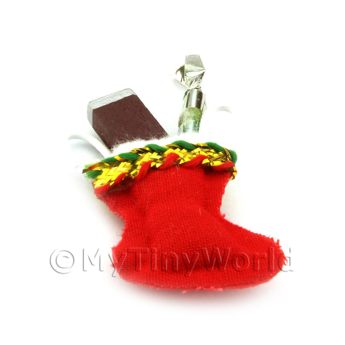 Dolls House Miniature Traditional Hanging Christmas Stocking