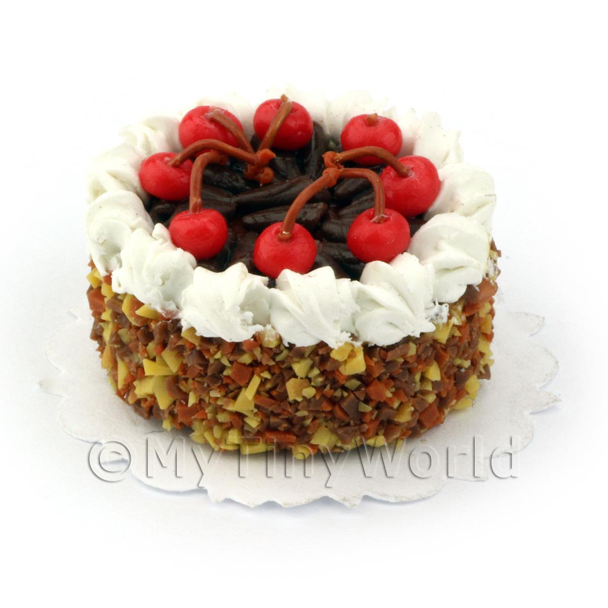Dolls House Miniature Chocolate Cherry Cake