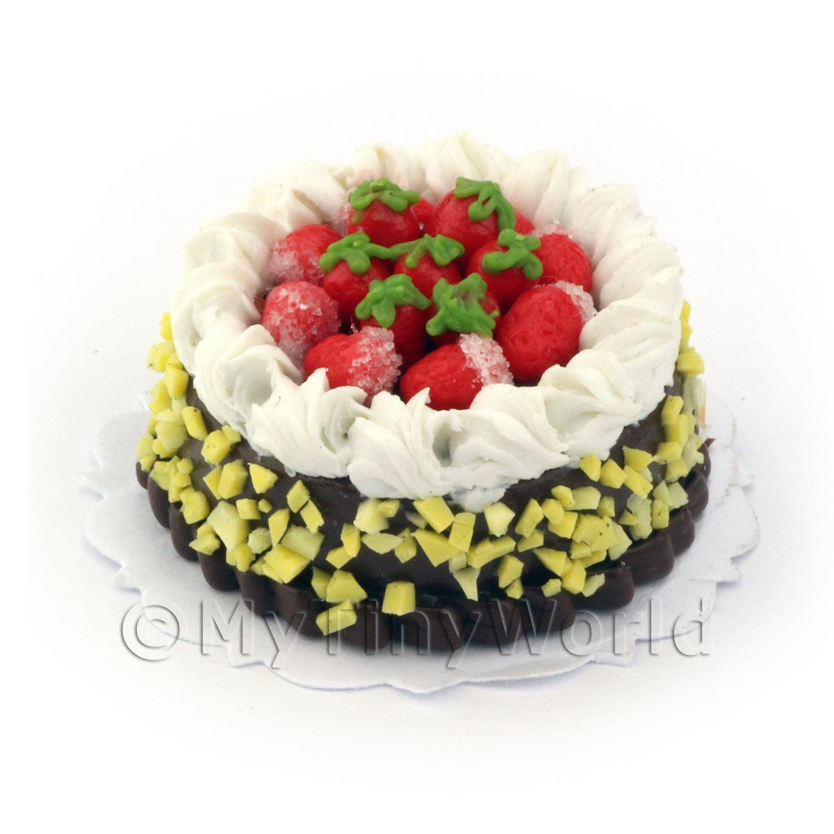 Dolls House Miniature Chocolate Strawberry Gateaux