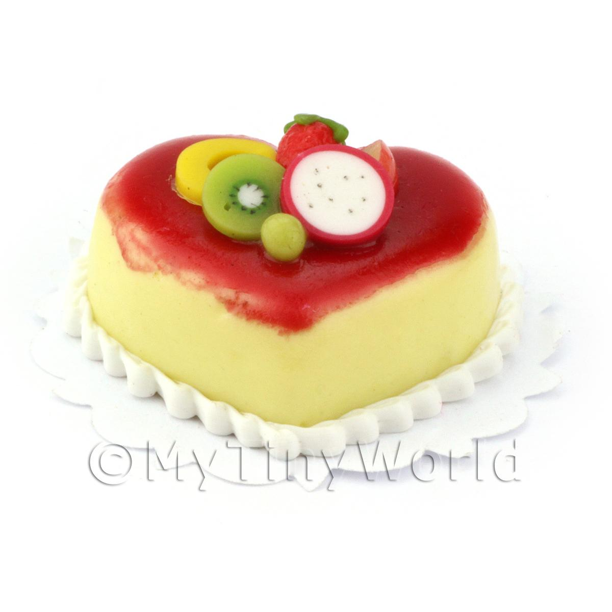 Dolls House Miniature Vanilla and strawberry mousse