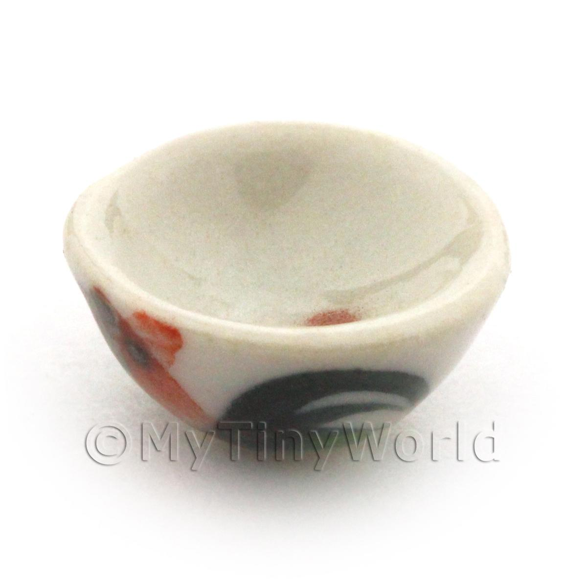 11mm Dolls House Miniature White Ceramic Cockerel Bowl