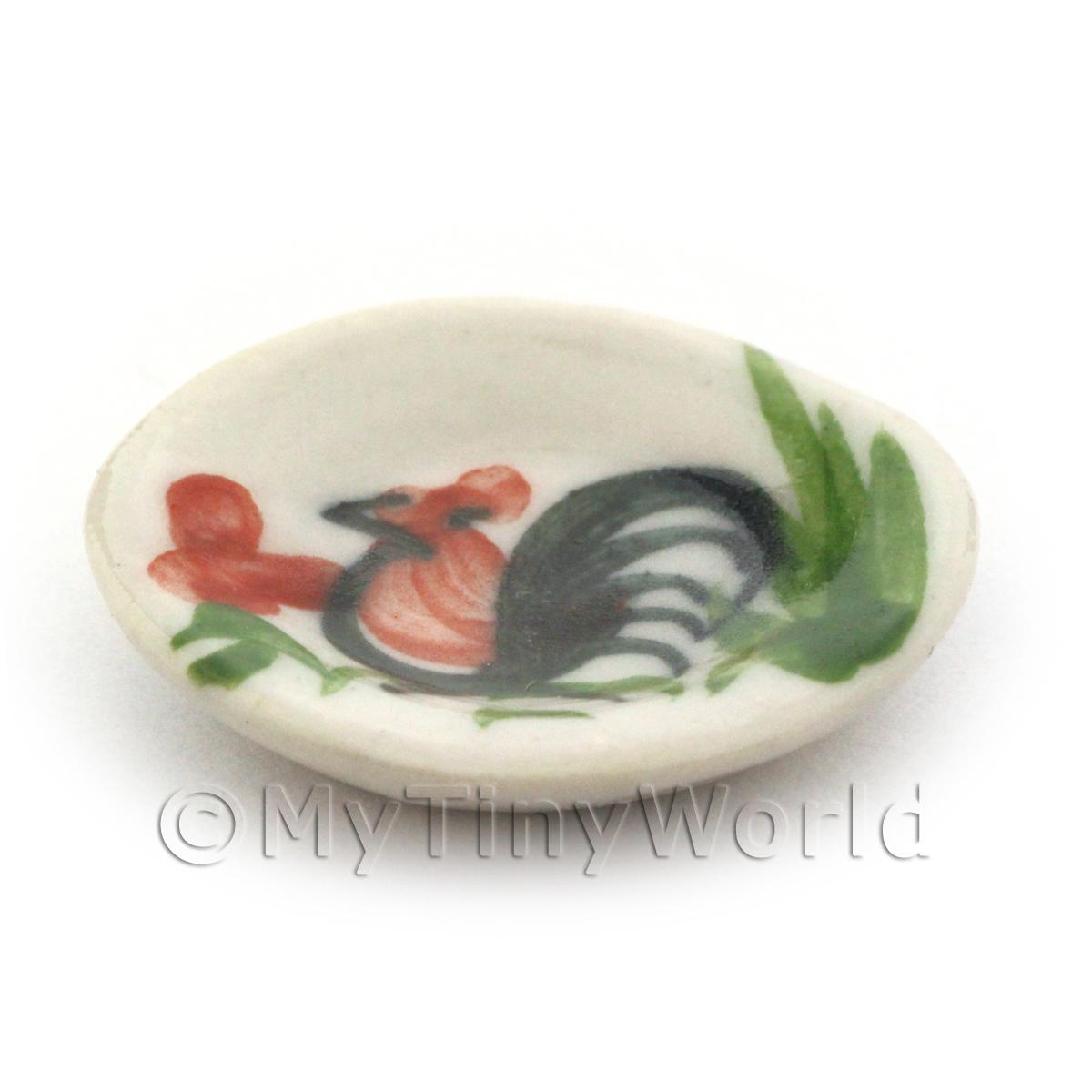 20mm Dolls House Miniature White Ceramic Cockerel Plate
