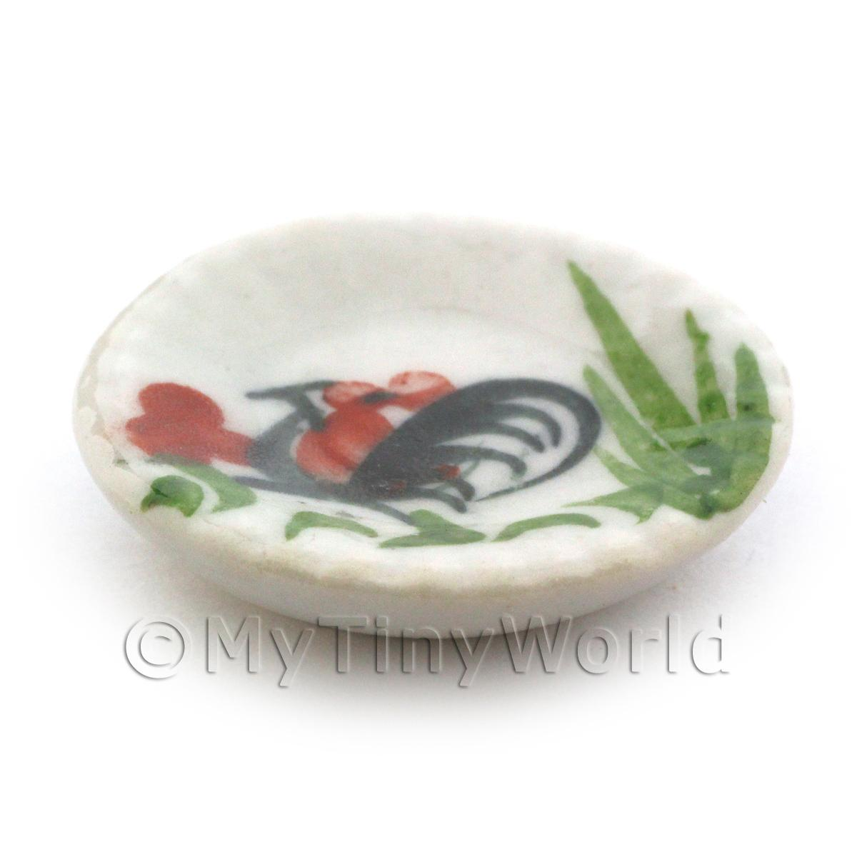 23mm Dolls House Miniature White Ceramic Fluted Edge Cockerel Plate