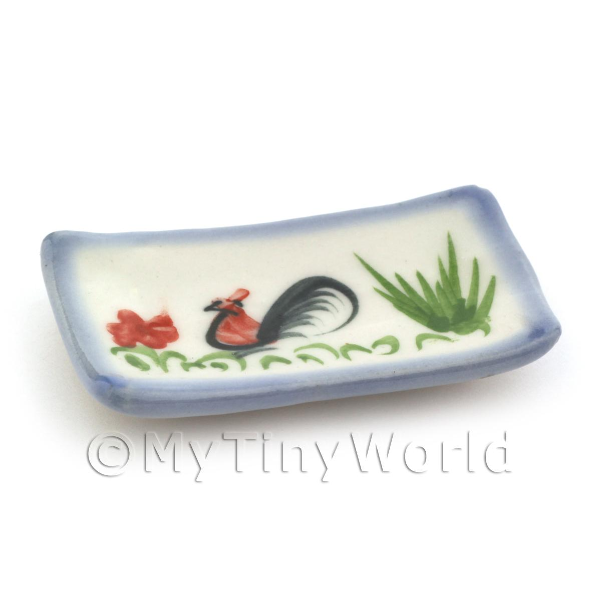 Dolls House Miniature 28mm x 49mm White Ceramic Cockerel Plate With Blue Edge