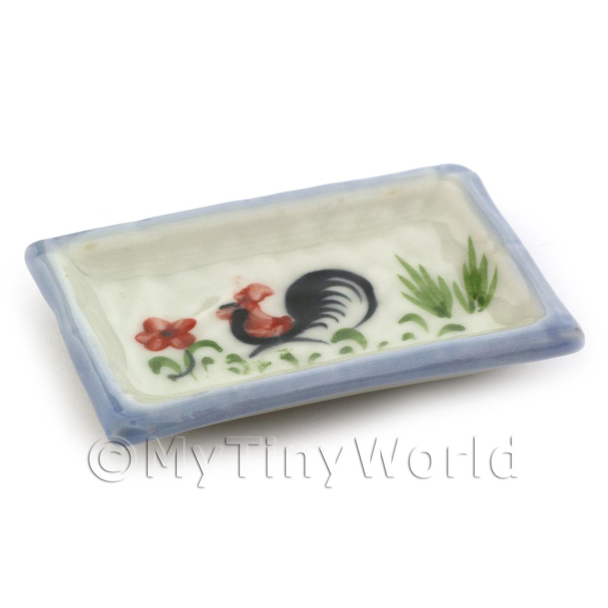 Dolls House Miniature 35mm x 52mm White Ceramic Cockerel Plate With Blue Edge
