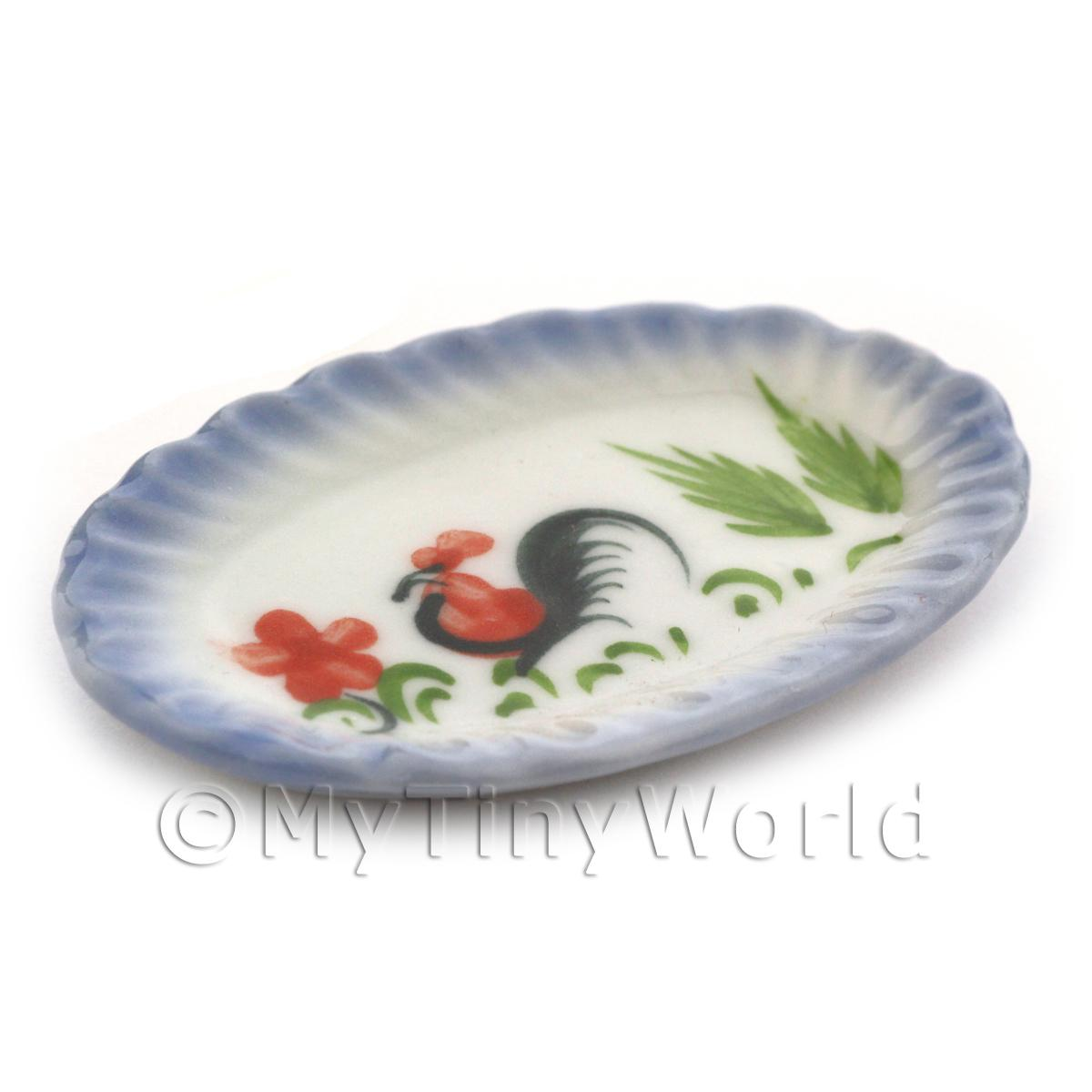 Dolls House Miniature 35mm x 52mm Oval Cockerel Plate