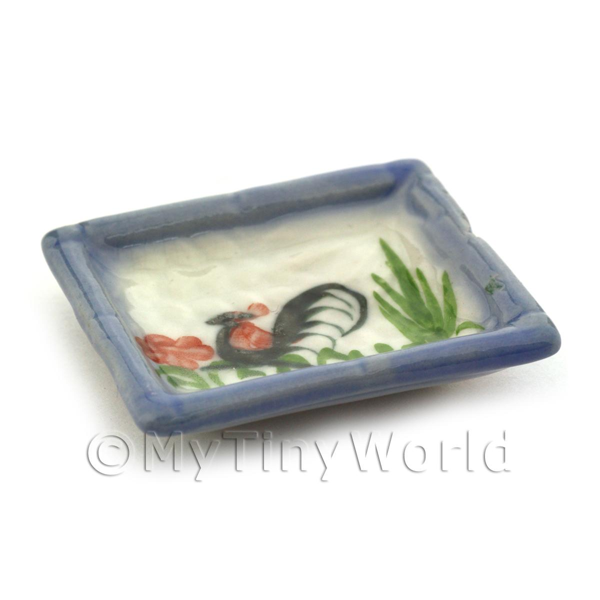 Dolls House Miniature 34mm x 40mm White Ceramic Cockerel Plate With Blue Edge