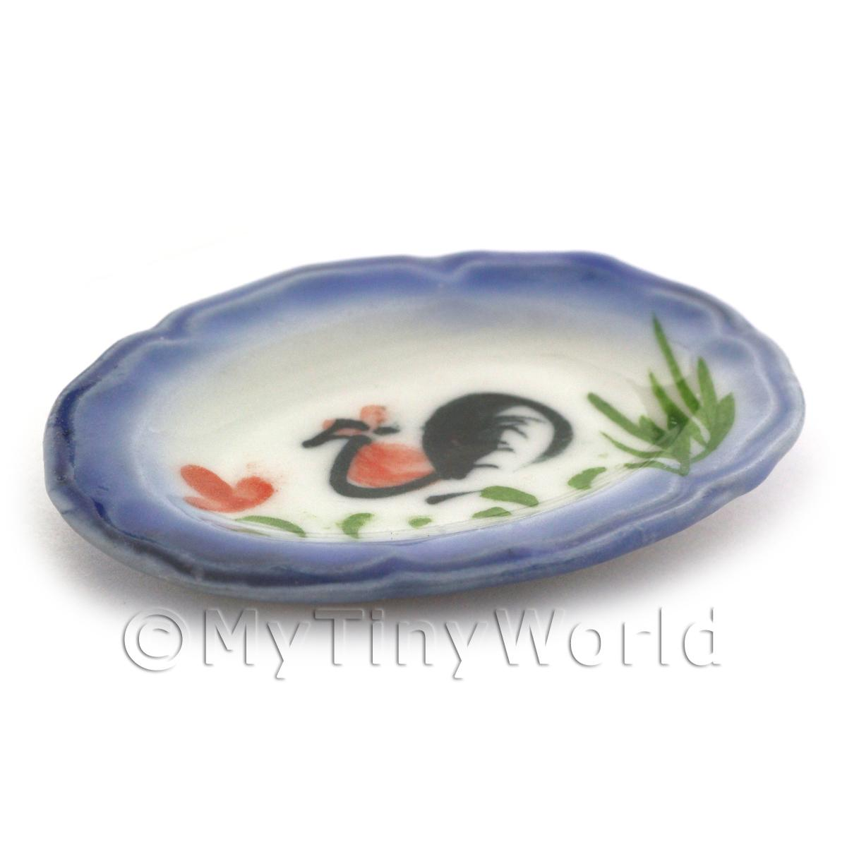 Dolls House Miniature 40mm x 54mm White Ceramic Cockerel Plate With Blue Edge